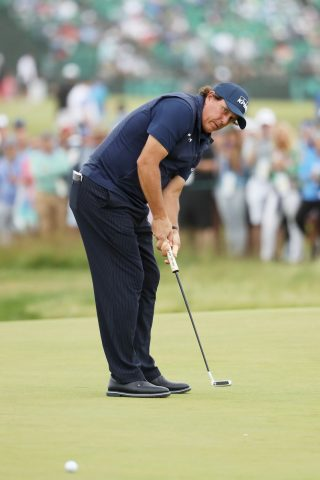 Phil Mickelson caused controversy during the third round when deliberately hitting a moving a ball on the green