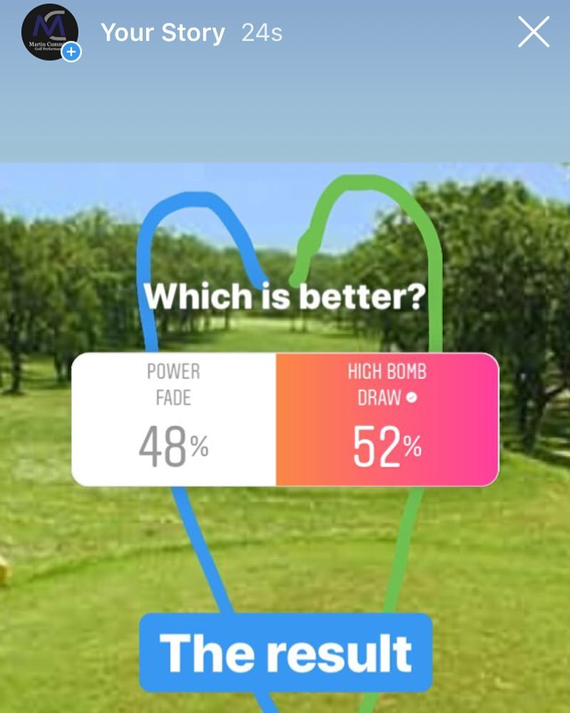 🇬🇧I put this little poll up yesterday for the favorite ball flight with a driver. There is no right or wrong answer. My only observation is that nearly all the professionals who voted went for Power Fade and nearly all the amateurs, of whatever handicap, for High Bomb Draw. Like I said no right or wrong answer but interesting. 🇪🇸Puse esta encuesta ayer preguntando de vuestro vuelo favorito con el driver. No hay una repuesta correcta ni incorrecta. La única observación que tengo es que casi todos los profesionales han votado por Power Fade y los amateurs, de cualquier handicap, por el High Bomb Draw. Como lo he dicho no hay una repuesta correcta pero aún interesante