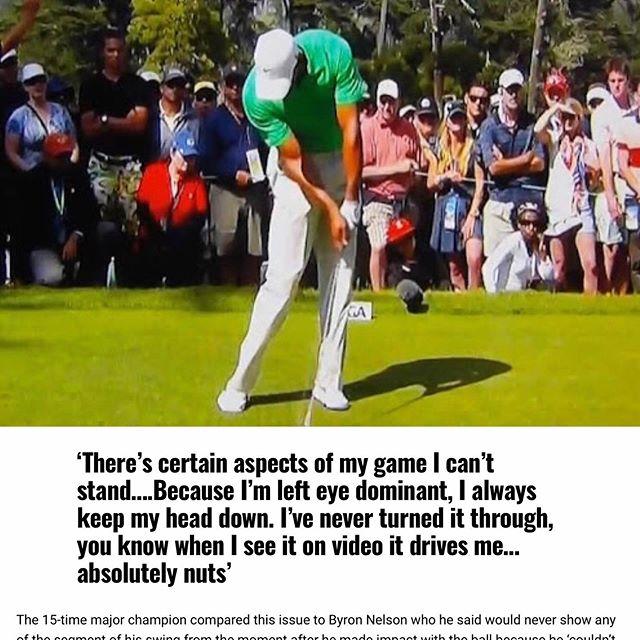 🇪🇸Entrevista muy interesante con Tiger Woods hablando de cómo su ojo dominante influye su swing. Un diestro con el ojo izquierdo como el ojo dominante. Muchas veces jugadores con esta combinación deja la cabeza detrás produciendo inclinación secundaria en el torso al impacto. Una solución es colocando la bola más adelante en el stance, una cosa que funciona muy bien por unos jugadores, incluyendo Jack Nicklaus, mejorando las condiciones al impacto.  Otro motivo que es importantísimo que buscas la mejor versión de TU propio swing, sin seguir modelos. 🇬🇧Interesting interview with a Tiger Woods talking about how his dominant eye influences his swing. A right handed who's dominant eye is his left eye. Many time players with the same combination leave their head too far behind the ball, creating secondary torso tilt. One answer is moving the ball further forwards in the stance, something that works very well for some, including Jack Nicklaus, improving impact conditions. Another reason why it's important to find the best version of YOUR swing, without following models